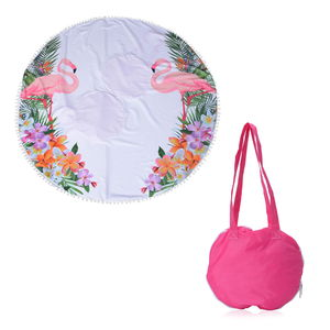2 in 1 Flamingo Pattern 20% Cotton and 80% Viscose Multi Purpose Towel (82x29 in) and Pink Tote