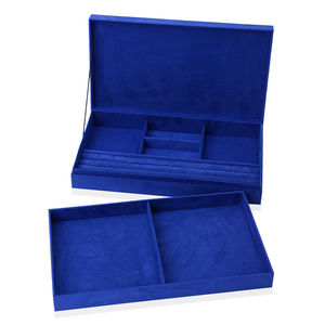 Blue Velvet Two Tier Jewelry Box with 3D Elephant Painting (15x4x8.25 in)