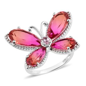 Arizona Sunset Quartz, Morro Redondo Pink Tourmaline Platinum Over Sterling Silver Butterfly Ring (Size 7.0) TGW 14.51 cts.