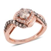 10K RG Natural Brown Diamond, Diamond Ring (Size 7.0) TDiaWt 1.00 cts, TGW 1.00 cts.