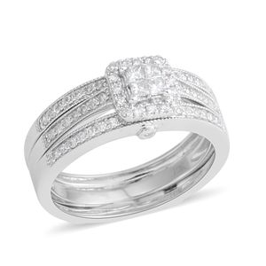 10K WG Diamond (I I2) Ring Set (Size 7.0) TDiaWt 0.50 cts, TGW 0.50 cts.
