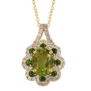Hebei Peridot, Russian Diopside, White Zircon 14K YG Over Sterling Silver Flower Pendant With Chain (18 in) TGW 4.18 cts.