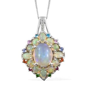 Ethiopian Welo Opal, Multi Gemstone Platinum Over Sterling Silver Pendant With Chain (20 in) TGW 4.24 cts.