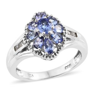 Tanzanite (2A), White Topaz Platinum Over Sterling Silver Ring (Size 5.0) TGW 1.80 cts.