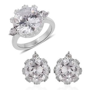 Simulated White Diamond, White Austrian Crystal Stainless Steel Earrings and Ring (Size 8) TGW 4.60 cts.