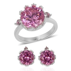 Simulated Pink Sapphire, White Austrian Crystal Stainless Steel Earrings and Ring (Size 6) TGW 4.60 cts.
