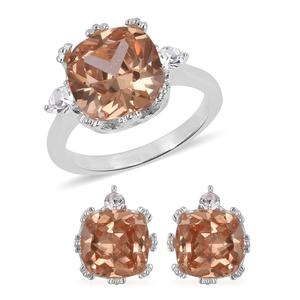 Simulated Imperial Topaz, Austrian Crystal Stainless Steel Earrings and Ring (Size 7) TGW 4.60 cts.