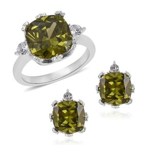 Simulated Vesuvianite, Austrian Crystal Stainless Steel Earrings and Ring (Size 10) TGW 4.60 cts.