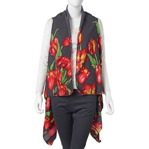 Black Tulip Pattern 100% Polyester Sleeveless Kimono (35.44x55.12 in)