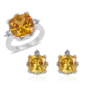 Simulated Golden Diamond, White Austrian Crystal Stainless Steel Earrings and Ring (Size 8) TGW 4.60 cts.