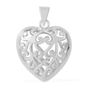Sterling Silver Openwork Heart Pendant without Chain (3.03g)