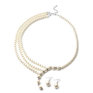 White Glass Pearl Black Oxidized Silvertone & Stainless Steel Earrings and Necklace (24 in) TGW 673.50 cts.