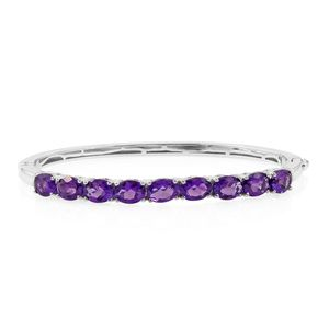 Lusaka Amethyst Platinum Over Sterling Silver Bangle (7.25 in) TGW 10.32 cts.