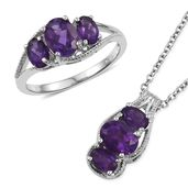 Lusaka Amethyst Platinum Bond Brass Ring (Size 9) and Pendant With Stainless Steel Chain (20 in) TGW 4.04 cts.