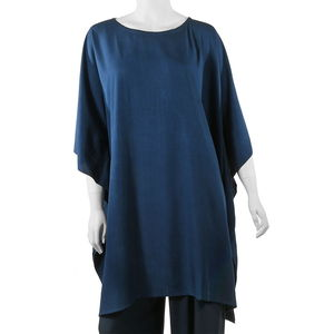 Navy Beach Cover up Rayon Poncho (One Size)