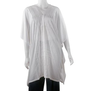 White Beach Cover up Rayon Poncho (One Size)