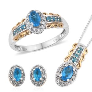 Malgache Neon Apatite, Cambodian Zircon 14K YG and Platinum Over Sterling Silver Ring (Size 7), Halo Stud Earrings and Pendant With Chain (20 in) TGW 2.34 cts.