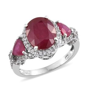 Customer Appreciation Day Niassa Ruby, Cambodian Zircon Platinum Over Sterling Silver Ring (Size 5.0) TGW 9.71 cts.