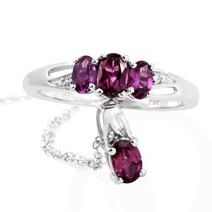 Purple Garnet, Cambodian Zircon Platinum Over Sterling Silver Ring (Size 9) and Pendant With Chain (20 in) TGW 1.87 cts.