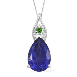 Playa Quartz, Russian Diopside Platinum Over Sterling Silver Pendant With Chain (20 in) TGW 6.34 cts.