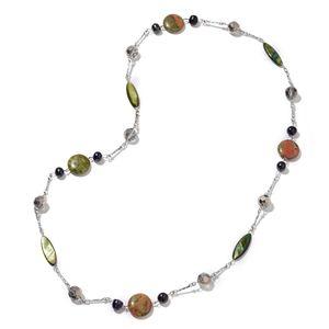 Unakite, Multi Gemstone Black Oxidized Silvertone Necklace (34 in) TGW 266.00 cts.