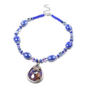 Murano Millefiori Glass, Blue Chroma Silvertone Butterfly Drop Necklace (24 in)