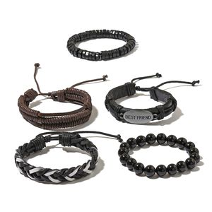 FOR HIM Enhanced Black Agate, Wooden Silvertone Set of 5 Bracelet with Faux Leather Cord TGW 158.00 cts.