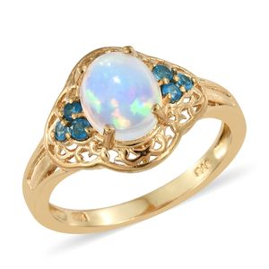 Ethiopian Welo Opal, Malgache Neon Apatite Vermeil YG Over Sterling Silver Ring (Size 5.0) TGW 1.90 cts.