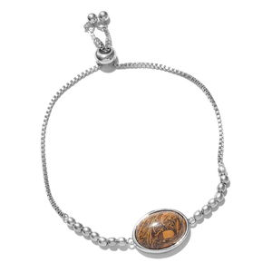 KARIS Collection - Indian Script Stone Platinum Bond Brass Bolo Bracelet (Adjustable) TGW 10.75 cts.