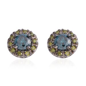 14K WG Blue and Green Diamond (IR) Stud Earrings TDiaWt 1.20 cts, TGW 1.20 cts.