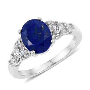KARIS Collection - Lapis Lazuli, White Topaz Platinum Bond Brass Heart Ring (Size 7.0) TGW 3.80 cts.