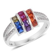 Simulated Multi Color Diamond Sterling Silver Ring (Size 7.0) TGW 1.75 cts.