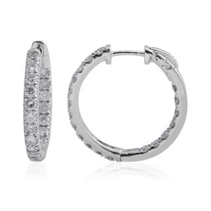 10K WG Diamond (I I3) Hoop Earrings TDiaWt 3.00 cts, TGW 3.00 cts.