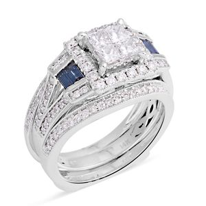 14K WG Diamond, Blue Diamond (H I1) (IR) Ring Set (Size 7.0) TDiaWt 1.63 cts, TGW 1.63 cts.