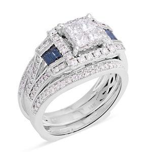14K WG Diamond, Blue Diamond (H I1) (IR) Ring Set (Size 7.0) TDiaWt 1.63 cts, TGW 1.63 cts.