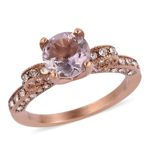 Rose De France Amethyst, White Austrian Crystal ION Plated RG Stainless Steel Ring (Size 8.0) TGW 1.68 cts.