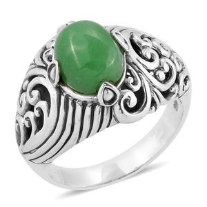 Bali Legacy Collection Burmese Green Jade Sterling Silver Ring (Size 9.0) TGW 4.67 cts.