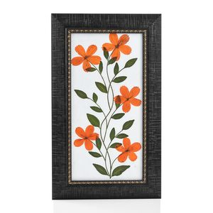 Handcrafted Multi Color Dry Cosmos Flower Petals and Haj Leaf Wooden Picture (7x12 in)