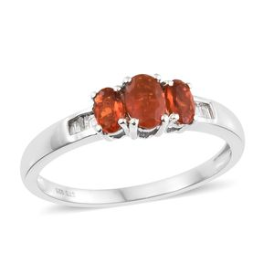 Jalisco Fire Opal, Diamond Accent Platinum Over Sterling Silver Ring (Size 5.0) TGW 0.65 cts.