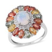 Ethiopian Welo Opal, Multi Sapphire, Cambodian White Zircon Sterling Silver Ring (Size 10.0) TGW 5.50 cts.