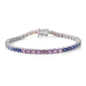 Multi Sapphire Sterling Silver Bracelet (6.50 In) TGW 8.40 cts.