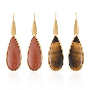 Goldstone, South African Tigers Eye Goldtone & Stainless Steel Set of 2 Earrings TGW 50.00 cts.