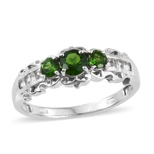 Dan's Collector Deal Russian Diopside, White Topaz Platinum Over Sterling Silver Ring (Size 5.0) TGW 1.42 cts.