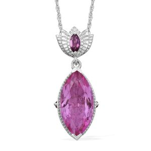 African Lilac Quartz, Orissa Rhodolite Garnet Platinum Over Sterling Silver Pendant With Chain (20 in) TGW 8.85 cts.