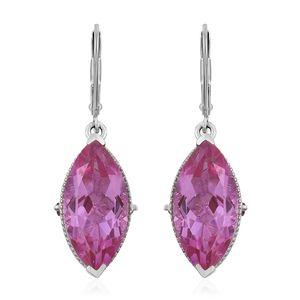 African Lilac Quartz, Orissa Rhodolite Garnet Platinum Over Sterling Silver Earrings TGW 18.10 cts.