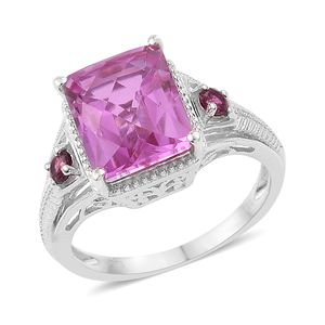 African Lilac Quartz, Ruby Platinum Over Sterling Silver Ring (Size 10.0) TGW 6.90 cts.