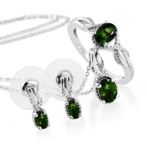 Russian Diopside Platinum Over Sterling Silver Earrings, Ring (Size 8) and Pendant With Chain (20 in) TGW 2.15 cts.