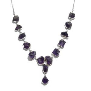 Artisan Crafted Rough Cut Amethyst Sterling Silver Magic Ball Drop Necklace (20 in) TGW 58.30 cts.