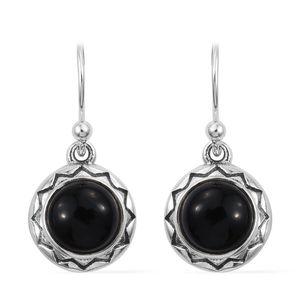 Burmese Black Jade Sterling Silver Dangle Earrings TGW 4.12 cts.