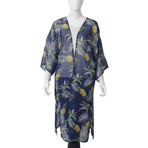 Navy 100% Polyester Sheer Tropical Theme Pineapple Pattern Kimono (One Size)